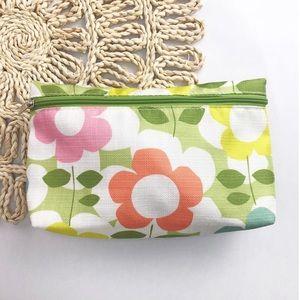 Clinique | Green Floral Zippered Makeup Bag